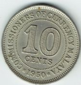 Malaya, George VI, 10 Cents 1950, VF, WB7335